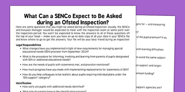 Questions for SENCo Ofsted - questions, senco, ofsted, teachers