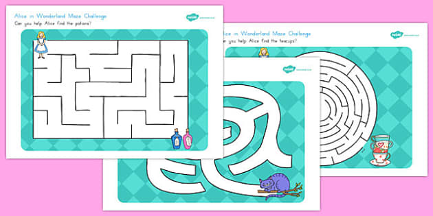 Alice in Wonderland Maze Activity Sheets - australia, alice in wonderland, worksheet
