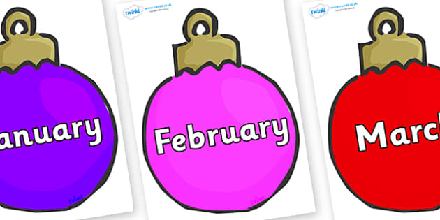 Months of the Year on Baubles (Multicolour) - Months of the Year, Months poster, Months display, display, poster, frieze, Months, month, January, February, March, April, May, June, July, August, September