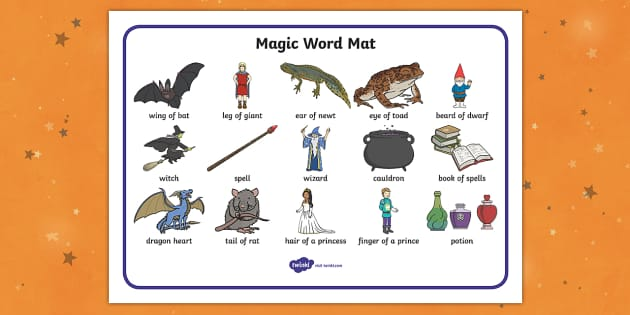 Magic Word Mat - witch, magic, word mat, writing aid, mat, wizard, spell, cauldron, wizard's tower