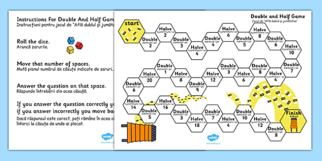 Doubling and Halving Board Game Romanian Translation - romanian, double, half, numeracy, game