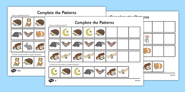 Nocturnal Animals Complete the Pattern Worksheet - nocturnal animals, complete, pattern