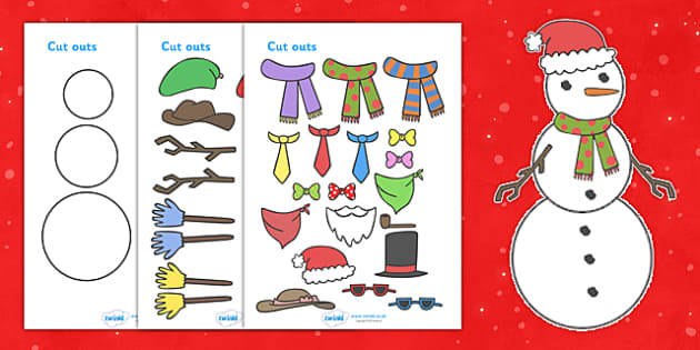 Snowman Christmas Cards Designing Worksheets - christmas, winter