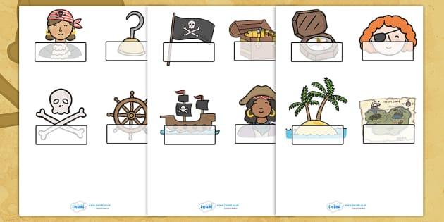 Editable Self Registration Labels (Pirates) - Self registration, register, editable, labels, registration, child name label, printable labels,  pirate, pirates, treasure, ship, jolly roger, ship, island, ocean
