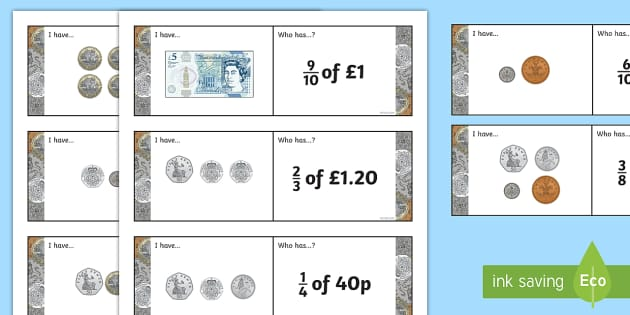Fractions of Money Loop Cards - Fractions, fraction of an amount, fraction of a number, money, pounds, pence