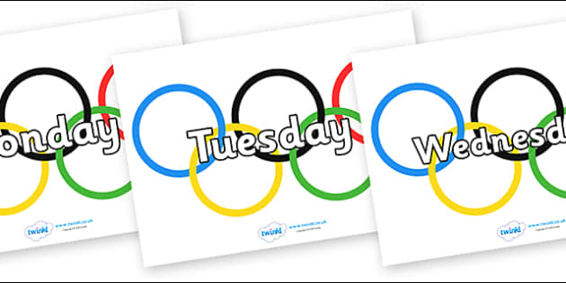 Days of the Week on Olympic Rings - Days of the Week, Weeks poster, week, display, poster, frieze, Days, Day, Monday, Tuesday, Wednesday, Thursday, Friday, Saturday, Sunday