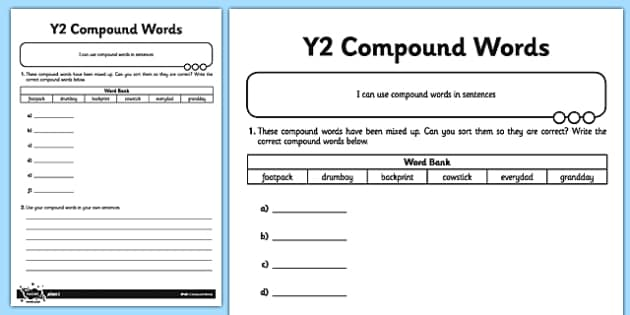 Compound Words Application Activity Sheet - GPS, spelling, grammar, compound words, worksheet