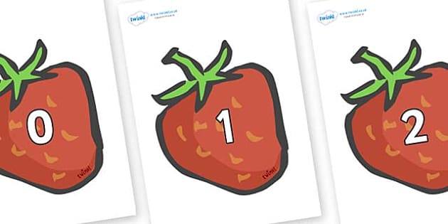 Numbers 0-100 on Strawberries - 0-100, foundation stage numeracy, Number recognition, Number flashcards, counting, number frieze, Display numbers, number posters