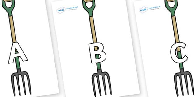 A-Z Alphabet on Garden Forks - A-Z, A4, display, Alphabet frieze, Display letters, Letter posters, A-Z letters, Alphabet flashcards
