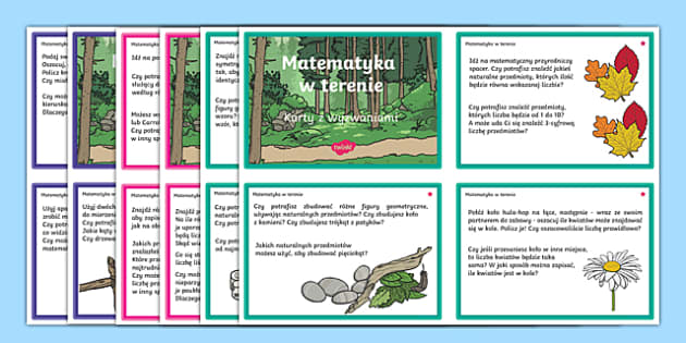 Outdoor maths challenge cards Polish-Polish