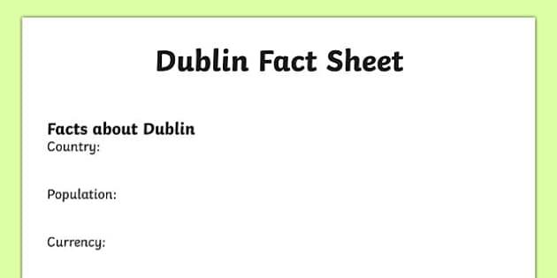Dublin Factsheet Writing Template - dublin, dublin fact sheet, dublin fact file, dublin worksheet, facts about dublin, dublin information, ks2 geography
