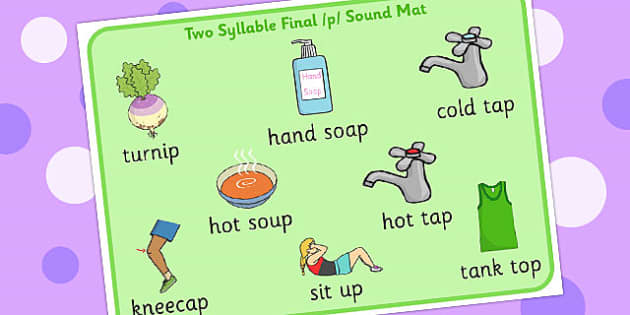 Two Syllable Final 'P' Sound Word Mat 2 - sounds, words, card