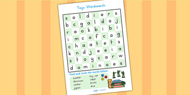 Toy Wordsearch - toy, wordsearch, word search, word games, games
