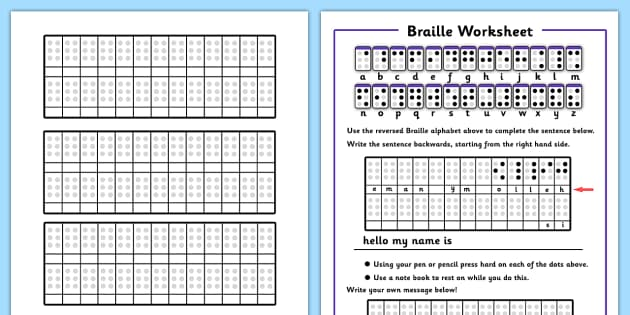 Braille Worksheets - braille worksheets, braille, alphabet, dots, blind, worksheet, sheet, work, activity, Louis Braille, visually impaired