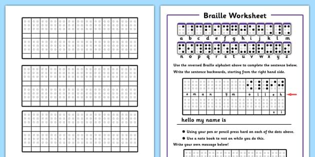 Braille Worksheets - braille worksheets, braille, alphabet, dots ...