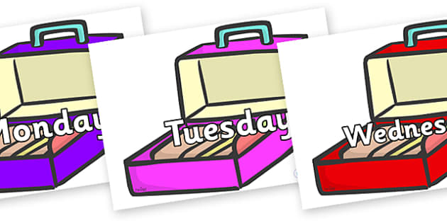 Days of the Week on Lunch Boxes - Days of the Week, Weeks poster, week, display, poster, frieze, Days, Day, Monday, Tuesday, Wednesday, Thursday, Friday, Saturday, Sunday