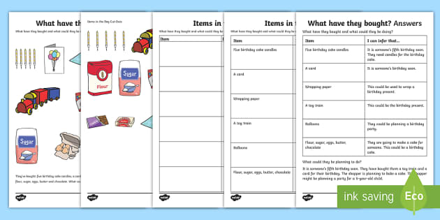 What Have They Bought? (2) Inferences Activity Sheet - drawing inferences, autism, ASD, Asperger's, receptive language, pragmatics, worksheet, sen, speec