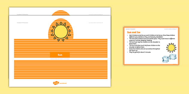 Foundation PE (Reception) Sun and Ice Warm-Up Activity Card - physical activity, foundation stage, physical development, games, dance, gymnastics