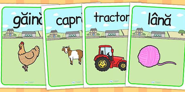 La fermă - Planșe cu imagini și cuvinte