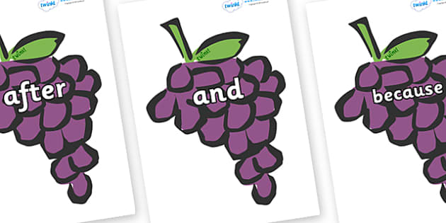 Connectives on Grapes - Connectives, VCOP, connective resources, connectives display words, connective displays