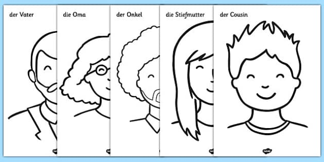 Meine Familie A4 Colouring Posters German - german, my family, colouring posters, colouring, posters, display