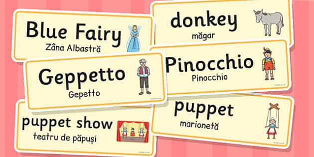 Pinocchio - Cartonașe cu imagini și cuvinte în română și engleză