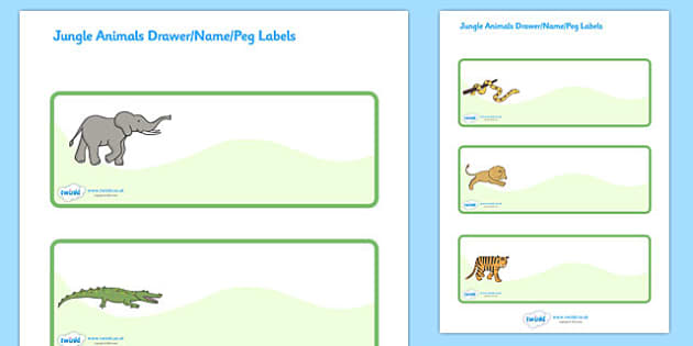 Jungle Animal Themed Editable Drawer Peg Name Labels - walking through the jungle, animals, story, book, Resource Labels, Name Labels, Editable Labels, Drawer Labels, Coat Peg Labels, Peg Label, KS1 Labels, Foundation Labels, Foundation Stage L