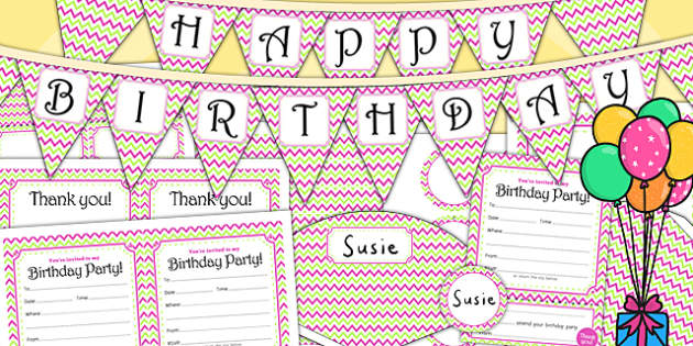Zig Zag Birthday Party Pack - birthdays, parties, party pack