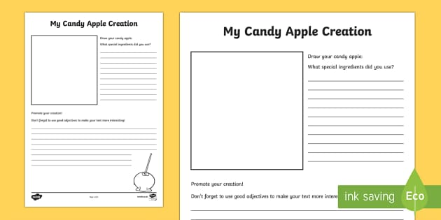My Candy Apple Creation Activity Sheet