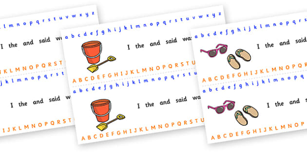 Alphabet Strips (Seaside) - Alphabet, Learning letters, Writing aid, Writing Area, holidays, water, tide, waves, sand, beach, sea, sun, holiday, coast