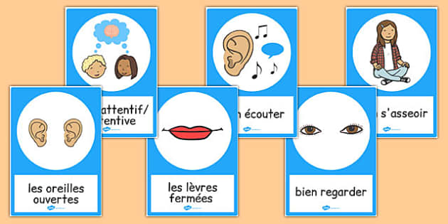 Good Listening Posters French - french, good listening, posters, display, communication