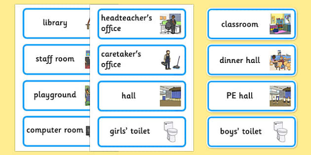 Places Around the School Labels - places around the school, places, school areas, labels, display