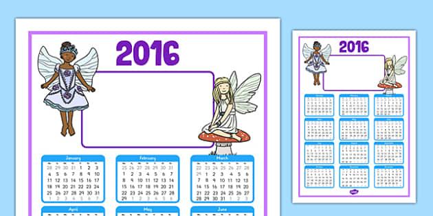2016 Fairy Themed Editable Calendar - 2016, fairy, themed, editable, calendar