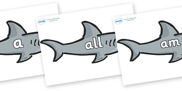 Foundation Stage 2 Keywords on Sharks - FS2, CLL, keywords, Communication language and literacy,  Display, Key words, high frequency words, foundation stage literacy, DfES Letters and Sounds, Letters and Sounds, spelling