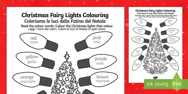 Christmas Fairy lights Colouring Sheet English/Italian - Christmas Fairy Lights Colouring Sheet - christmas, colouring, christmas colourig, colering, chritma