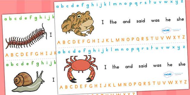 Minibeasts Alphabet Strip - a-z strip, visual aid, writing aid