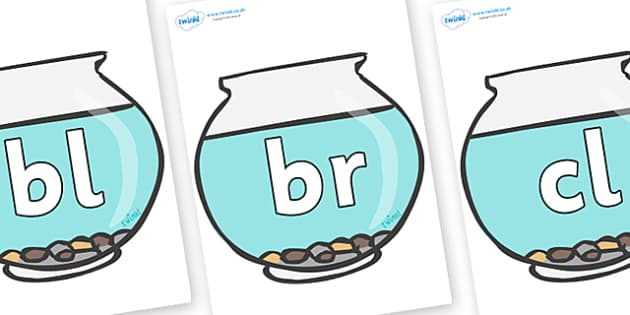Initial Letter Blends on Fish Bowls - Initial Letters, initial letter, letter blend, letter blends, consonant, consonants, digraph, trigraph, literacy, alphabet, letters, foundation stage literacy