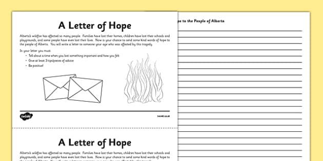 Alberta Wildfire Letter Writing Activity Sheet - Alberta, wildfire, fire, natural disaster, writing, letter, worksheet