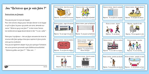 Jeu Qu'est ce que je vais faire French - french, near future, game, activity, class, future, near
