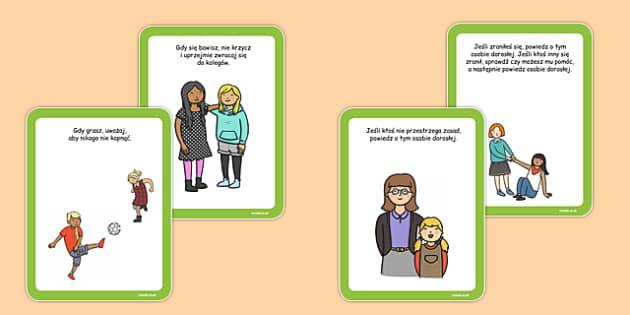Karty z instrukcjami Boisko szkolne po polsku - przerwa