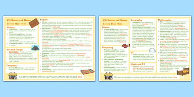 Houses and Homes KS1 Lesson Plan Ideas - house, home, lesson plan