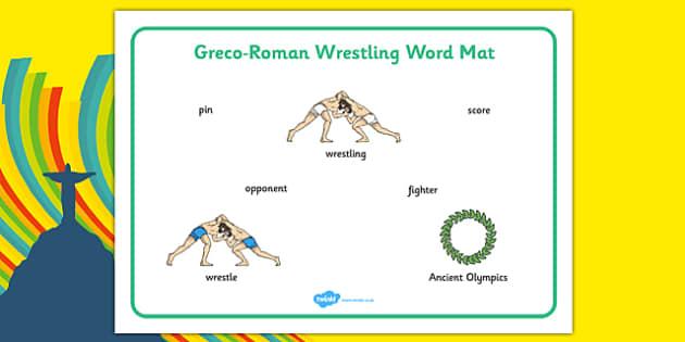 Rio 2016 Olympics Greco Roman Wrestling Word Mat - rio 2016, 2016 olympics, rio olympics, greco, roman, wrestling, word mat
