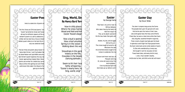 Elderly Care Easter Poems - poetry, adult education, nursing home, activities, memories