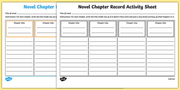 Novel Chapter Record Activity Sheet-Irish, worksheet