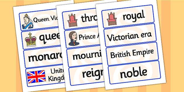 Queen Victoria Word Cards - queen victoria, word cards, topic cards, themed word cards, themed topic cards, key words, key word cards, keyword, writing aid