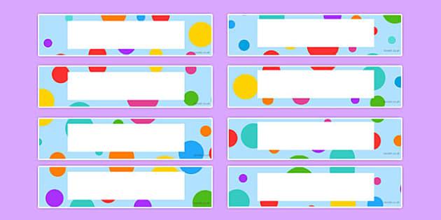 Multi-Coloured Polka Dot Tray Labels - multicoloured, polka dot, tray labels, display