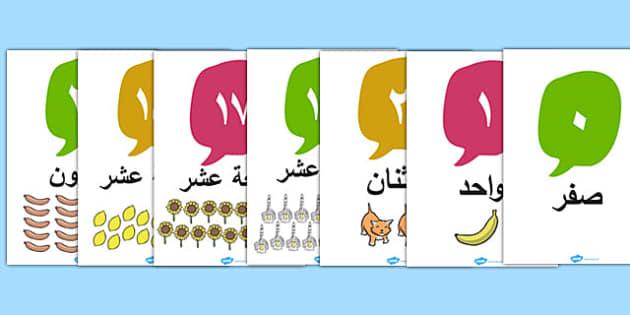 ملصقات مصورة للأعداد 0 إلى 20 - بوسترات الأعداد،  وسائل تعليمية