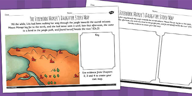 The Firework Makers Daughter Story Map Activity - history, myths