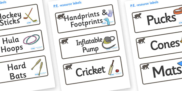 Panther Themed Editable PE Resource Labels - Themed PE label, PE equipment, PE, physical education, PE cupboard, PE, physical development, quoits, cones, bats, balls, Resource Label, Editable Labels, KS1 Labels, Foundation Labels, Foundation Stage La
