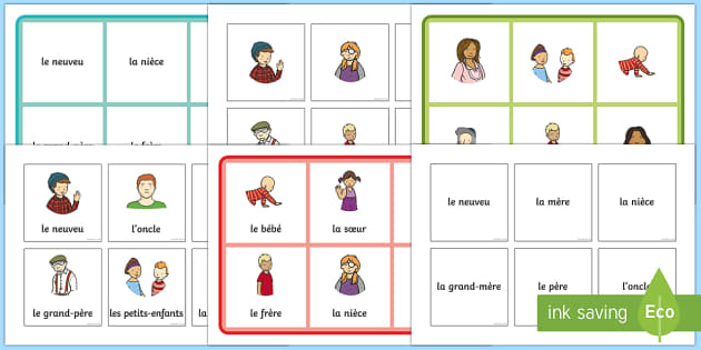 Family Members Bingo French - French game, MFL, ks1 French, KS2 French, family, all about me